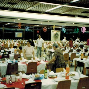 This is the cafeteria area just prior to Yom Kippur. Food is free for residents of the Kibbutz.